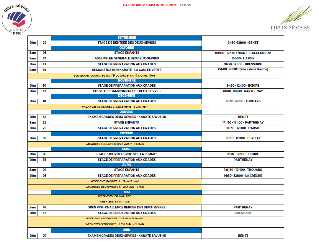 Calendrier Ffkda 2019 2020.Stages Isk